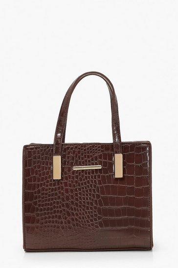 Womens Chocolate Croc Mini Tote Bag