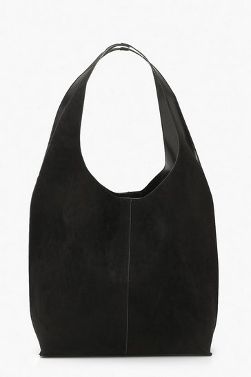 Black Suedette Slouch Hobo Day Bag