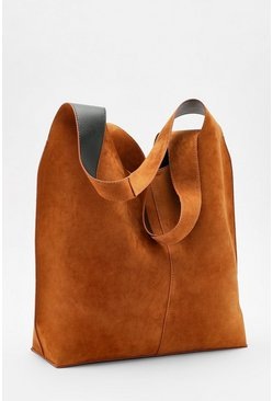 Tan Suedette Slouch Hobo Day Bag