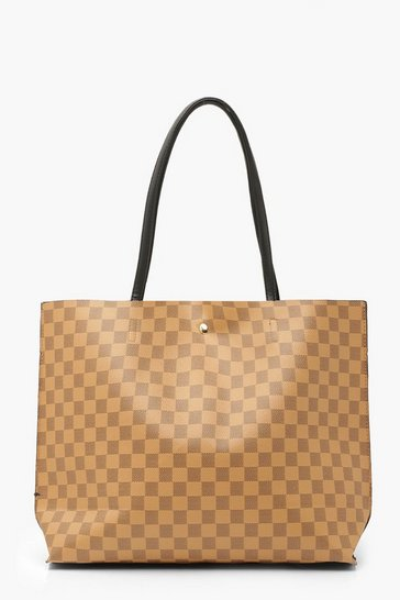 Brown Check Large Popper Tote Shopper Bag