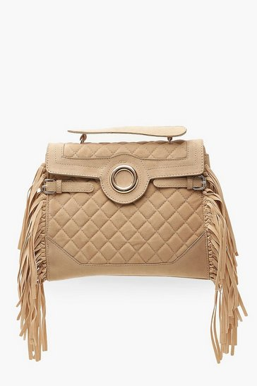 Cream Ring & Fringe Detail Quilted Bag