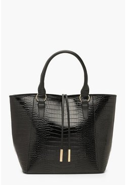 Black Croc Structured Tote Bag