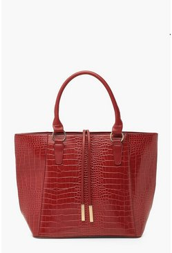Burgundy Croc Structured Tote Bag