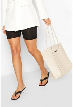 Ivory Textured PU Soft Tote Bag