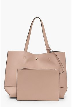 Blush Textured PU Tote & Tablet Bag
