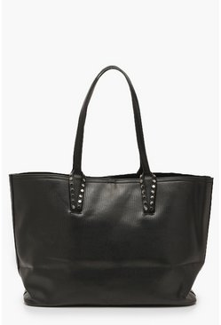 Black Lizard PU Stud Tote Bag & Tablet Case