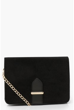 Black Velvet Chain & PU Strap Cross Body Bag
