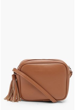 Tan PU Zip Around Cross Body Bag With Tassel