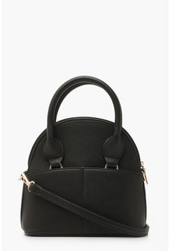 Womens Black Textured PU Bowling Bag & Cross Body Strap