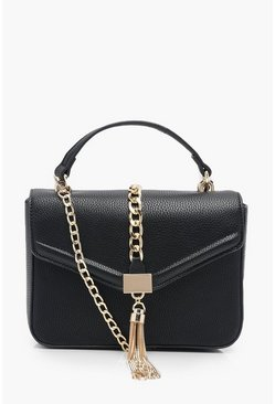 Womens Black PU Structured Chain & Tassel Cross Body Bag