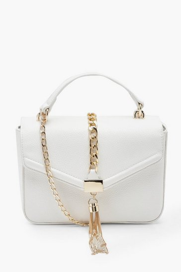 White PU Structured Chain & Tassel Cross Body Bag