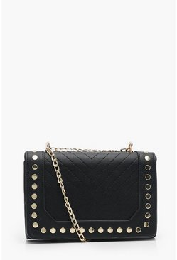 Black Chevron & Stud Cross Body Bag With Chain