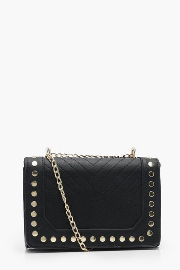 Womens Black Chevron & Stud Cross Body Bag With Chain