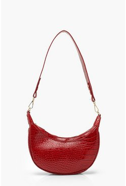 Red Vinyl Croc Underarm Bag With Wide Strap