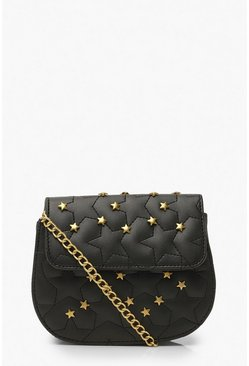 Black Quilted Star Studded Cross Body Bag