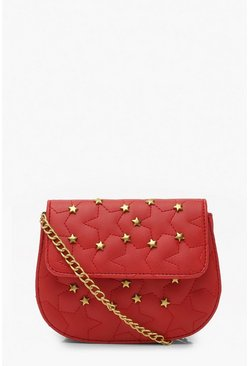 Red Quilted Star Studded Cross Body Bag