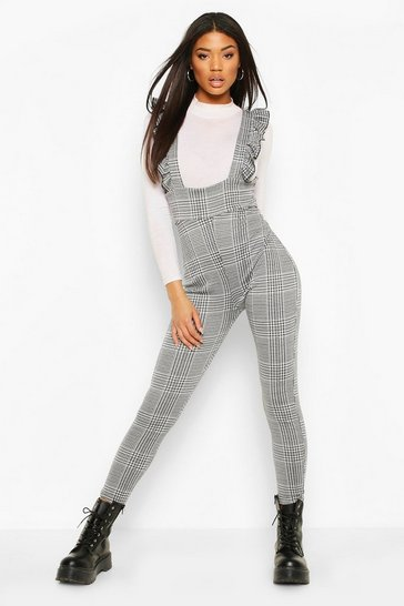 Blackwhite Ruffle Strap Check Trousers