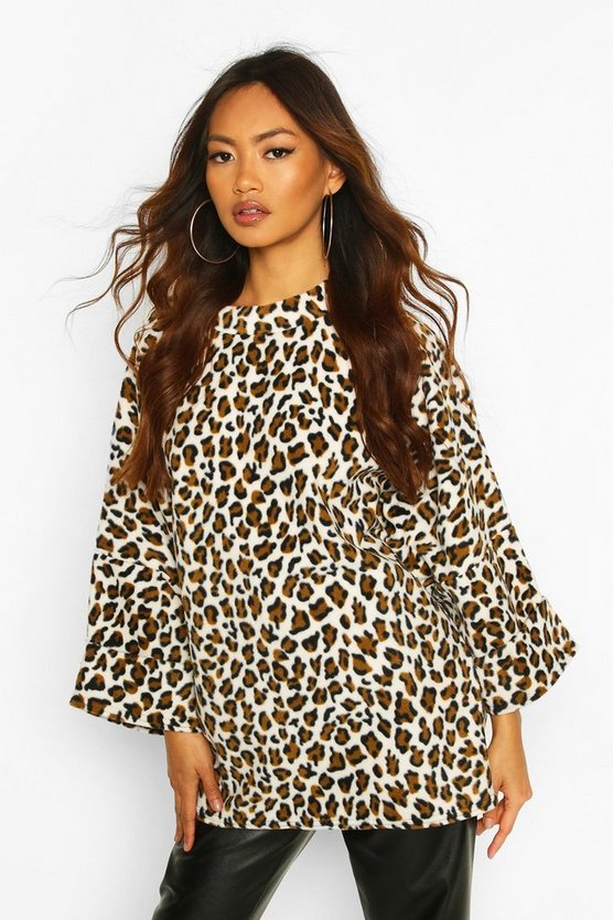 Womens Leopard Oversized Slouch Fleece Top