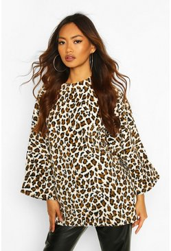 Leopard Oversized Slouch Fleece Top