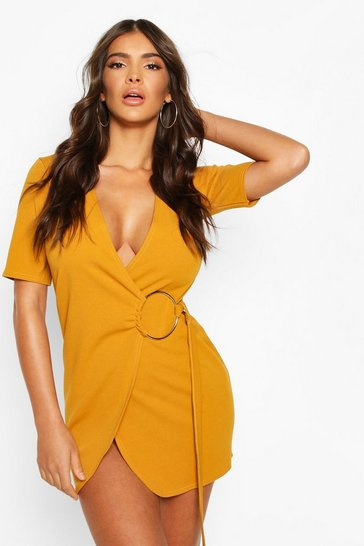 Mustard Wrap Mini Dress With Metal Ring Feature