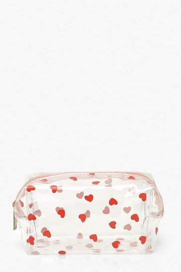 Clear All Over Mini Heart Makeup Bag