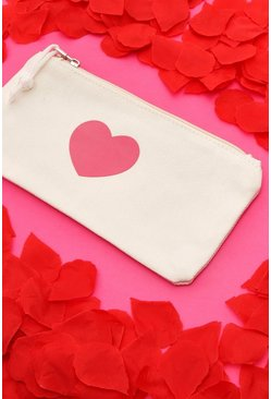 Trousse make up dorata a cuore, Bianco