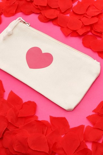 White Pink Heart Makeup Bag