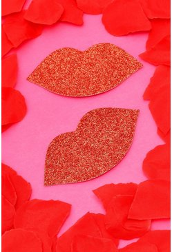 Red Valentines Glitter Lips Nipple Covers
