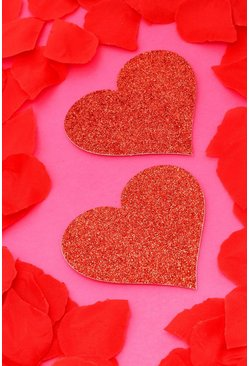 Red Valentines Glitter Heart Nipple Covers