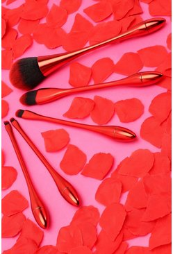 Red 5-Piece Face & Eye Brush Set