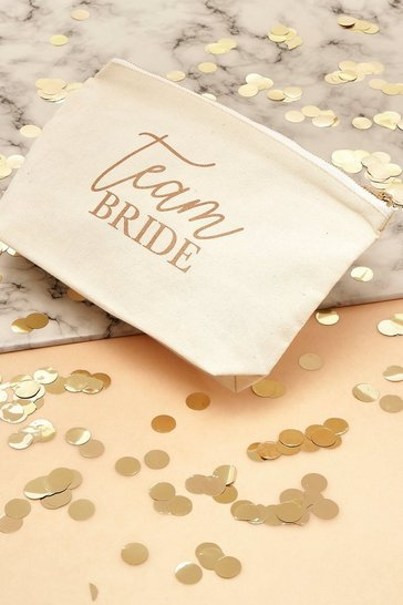 Cream Team Bride Canvas Makeup Bag