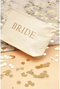 Cream Bride To Be Canvas Makeup Bag