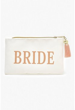 Cream Bride Slogan Canvas Makeup Bag