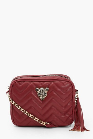 Burgundy Cheetah Hardware Quilted Cross Body Bag