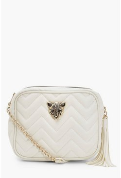Womens White Cheetah Hardware Quilted Cross Body Bag