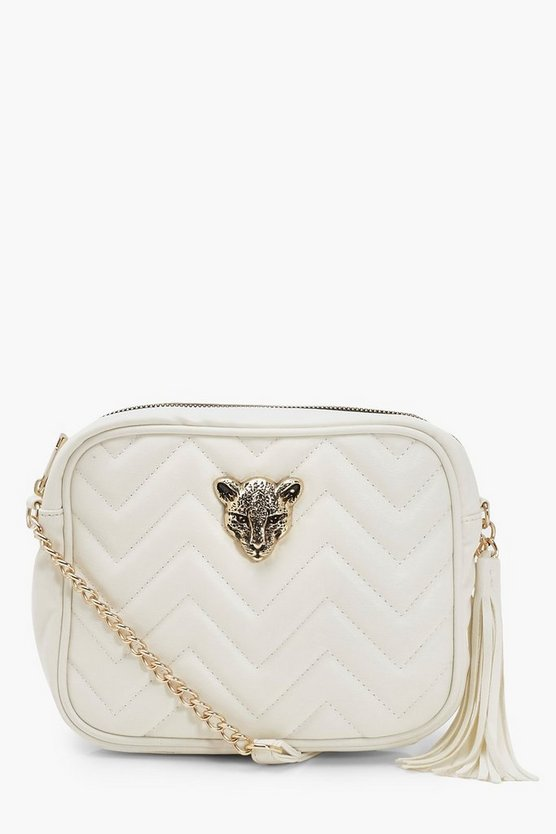 Cheetah Hardware Quilted Cross Body Bag