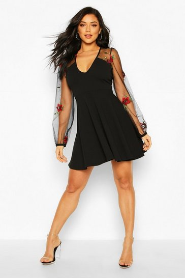 Black Floral Organza Mesh Skater Dress