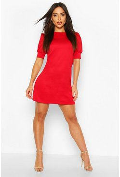 Red Puff Sleeve Shift Dress