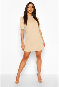 Stone Puff Sleeve Shift Dress