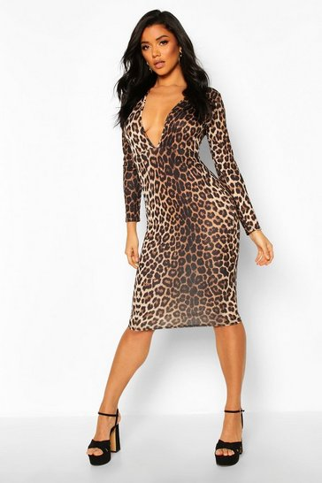 Brown Plunge Front Leopard Print Long Sleeve Midi Dress