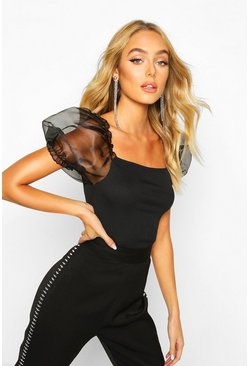 Black Bardot Organza Sleeve Rib Top