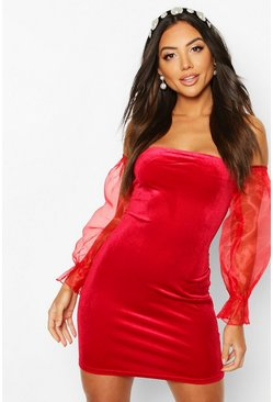 Red Bardot Velour Mini Dress With Organza Sleeves