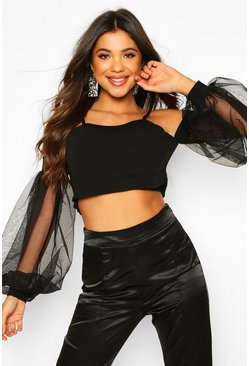 Womens Black Bardot Top With Oversized Organza Puff Sleeves