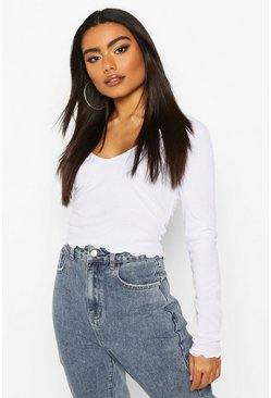 White Lettuce Hem V Neck Longsleeve Crop Top