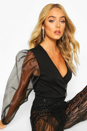 Black Mock Wrap Tie Top With Organza Sleeves