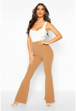 Camel High Waist Kick Flare Trouser With Contrast Stitch