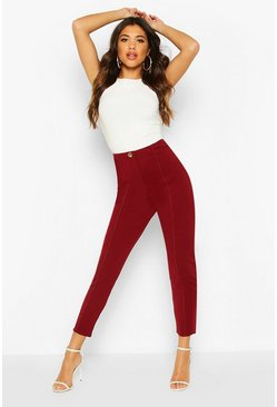 Womens Wine Tapered Leg Trouser With Contrast Stitching