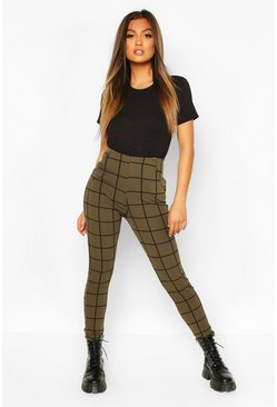 Womens Khaki Grid Check Tapered Leg Trouser