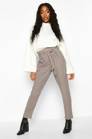 Womens Stone Tie Waist Check Trouser