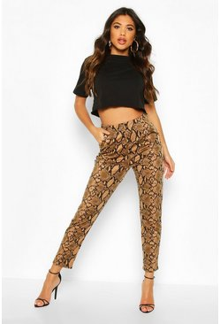 Womens Snake Print Tapered Leg Trouser